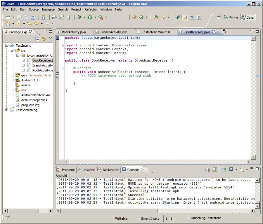 Eclipse でクラスの新規追加 - 追加されたソースファイル